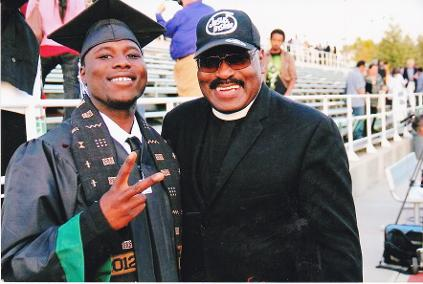 Don Smith 2012 Graduate of Peralta College with Bishop J. E. Watkins, Founder and CEO of OWH Studios
